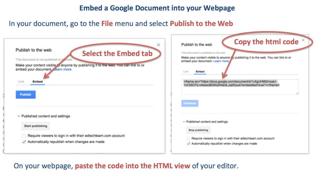 Embed Google Doc